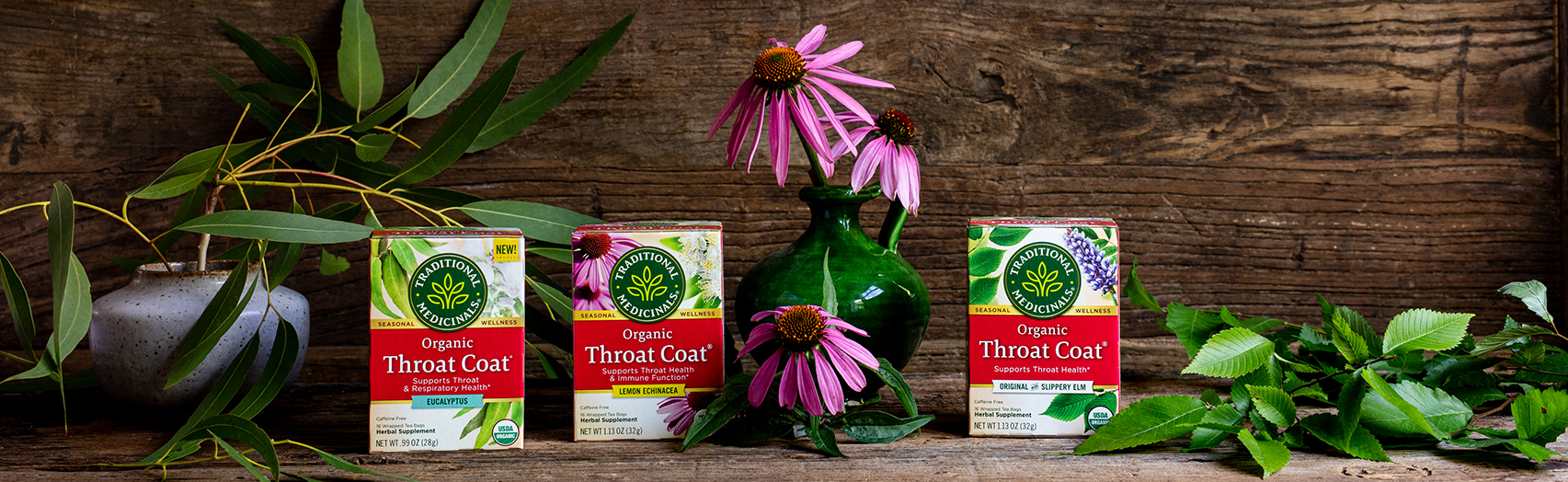 Lineup of our Throat Coat teas