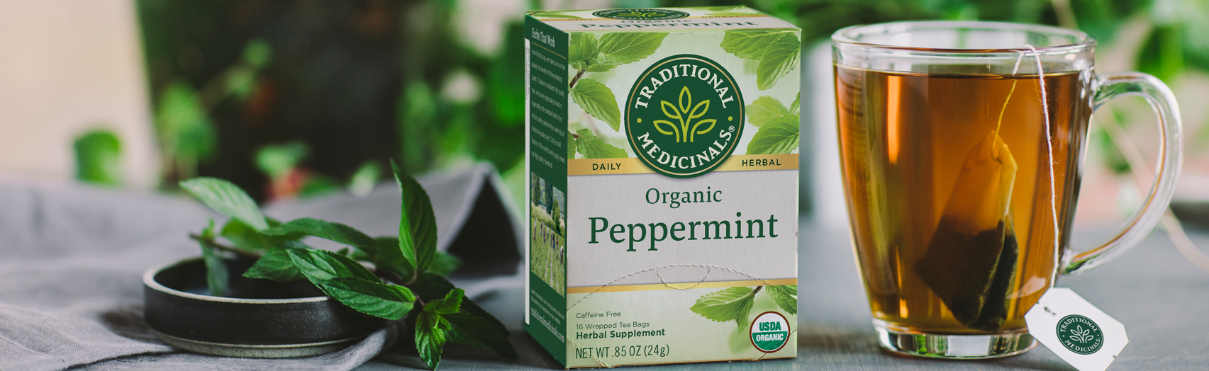 Peppermint tea next to fresh peppermint leaves and steeping mug