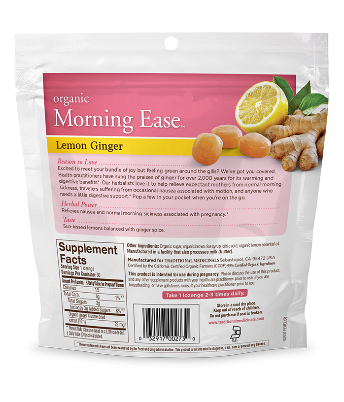 Back view of Morning Ease lozenges
